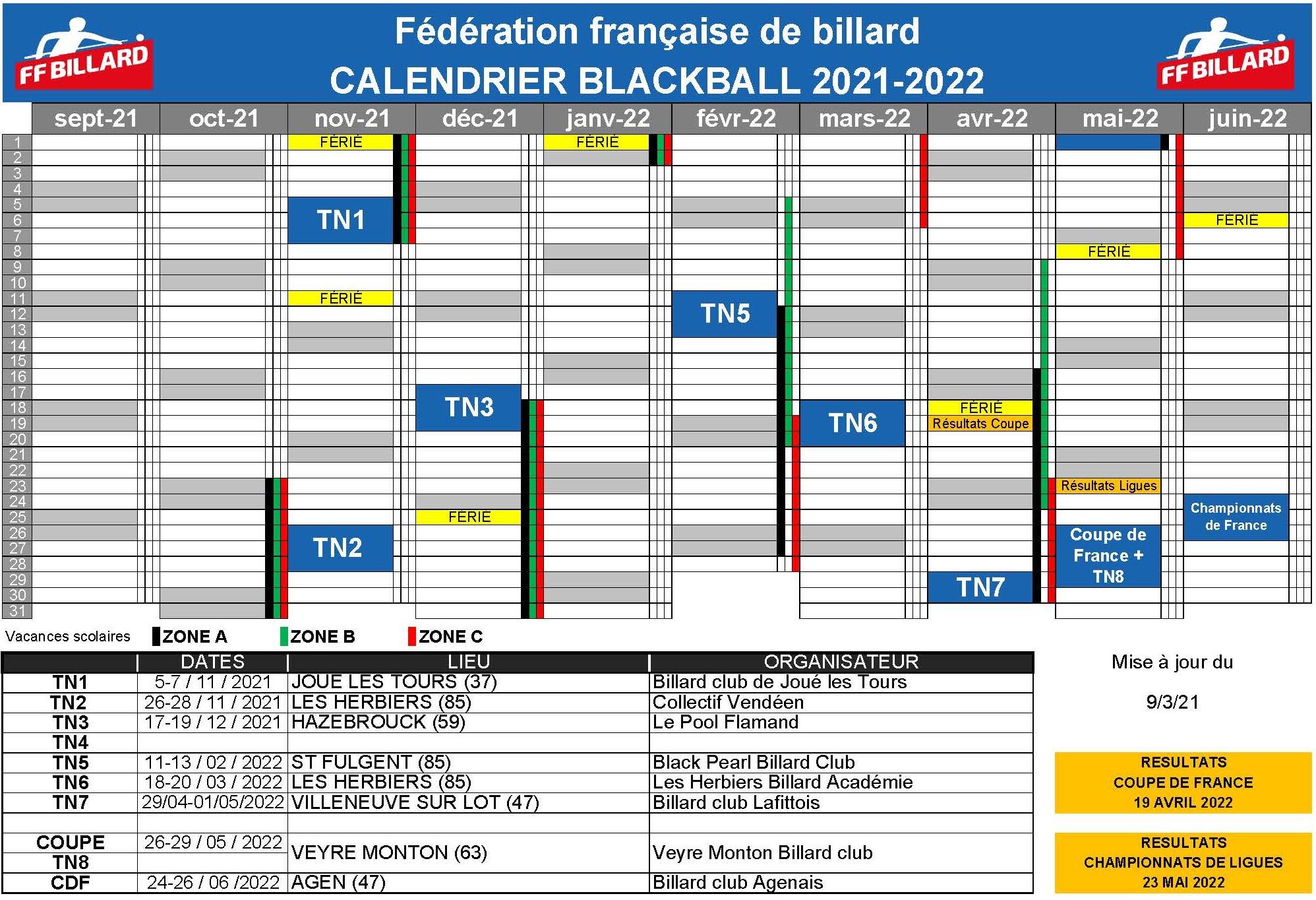 FFB Calendrier Blackball 2021 2022 du 09 03 2021